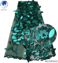 где купить BEAUTIFICAL teal green african lace fabrics sequins beads african fabrics purple evening dresses with sequins ML35N51 по лучшей цене