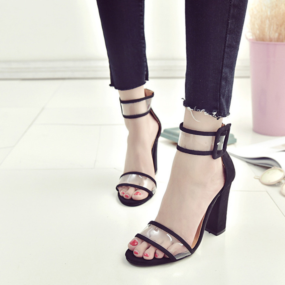 THINKTHENDO 3 Color Thick High Heel Sandals Velvet Cloth And Hollow Out Transparent Strappy Summer Size 4.5-8