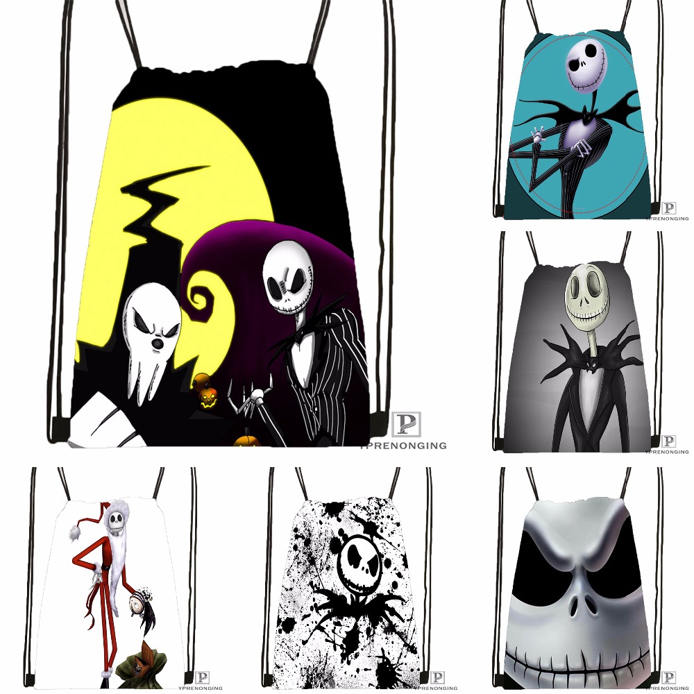 Custom Jack Skellington Lord Drawstring Backpack Bag Cute Daypack Kids Satchel (Black Back) 31x40cm#180531-03-32