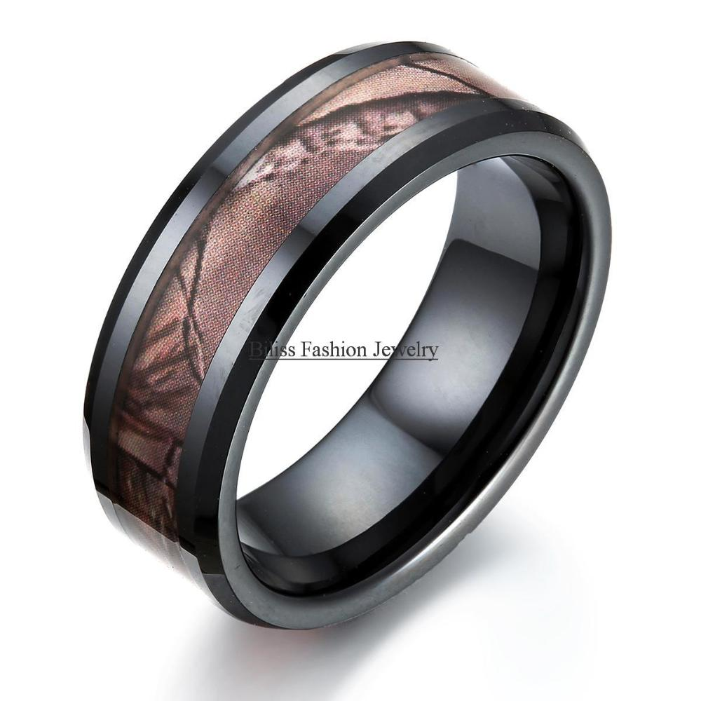 8mm comfort fit black ceramic ring with hunting camouflage for Black ceramic wedding ring