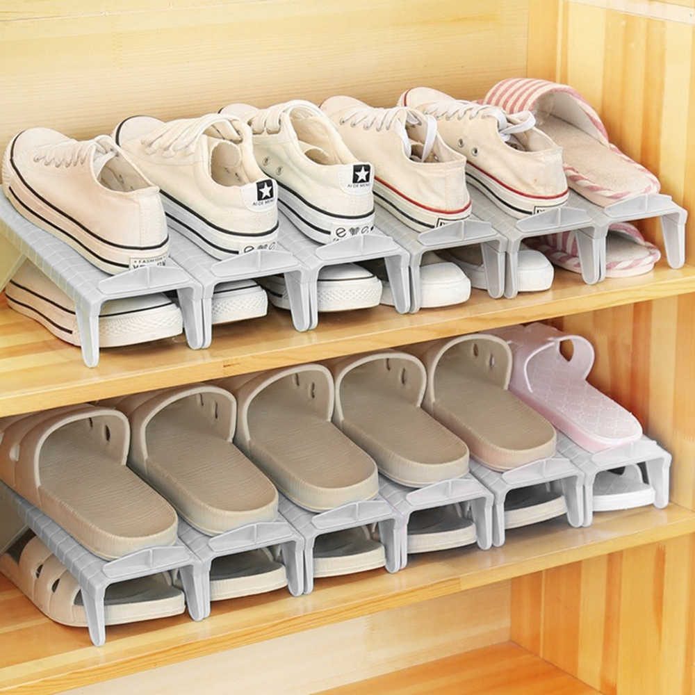 Closet Shoe Rack Organizer Double Holder Storage Shelf Plastic Adjustable Stand For Shoes Cabinet Shoebox Space Saver Rack