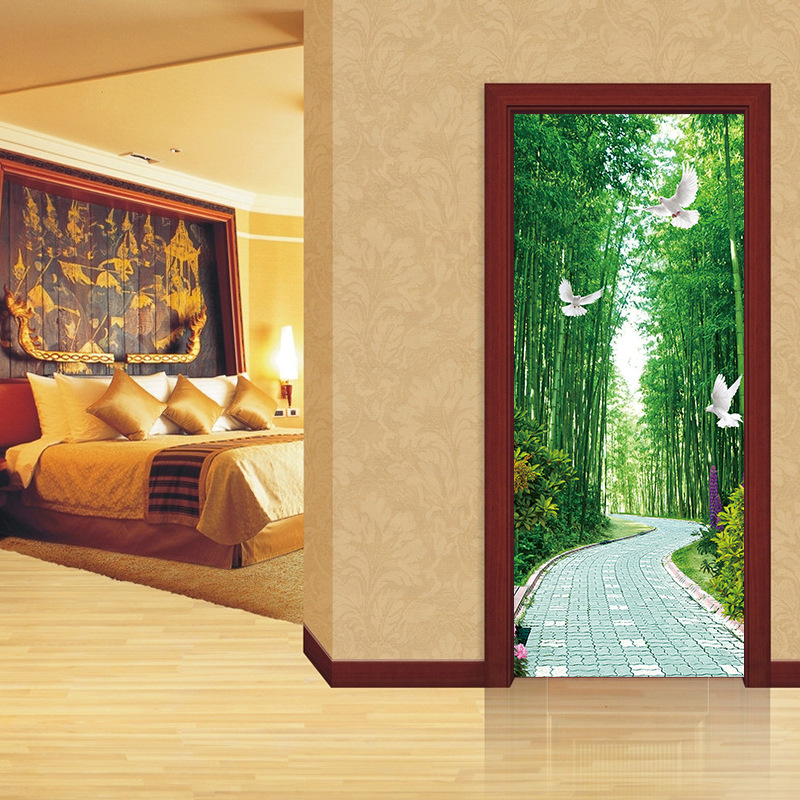 3D Wallpaper Green Bamboo Ladder Photo Wall Door Sticker Wall Sticker Living Room Bedroom Restaurant  Waterproof Wall Covering