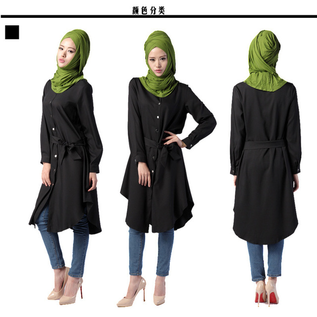 Muslim Women Fashion Dress Middle East Ethnic Muslim Loose Button Close Turn-Down Collar Robe Belted Long Sleeves Fashion Dress