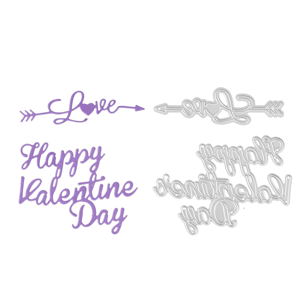Bi fujian scrapbooking Happy Valentines Day love shape Metal steel cutting love letter shape Book photo album art card Die cut