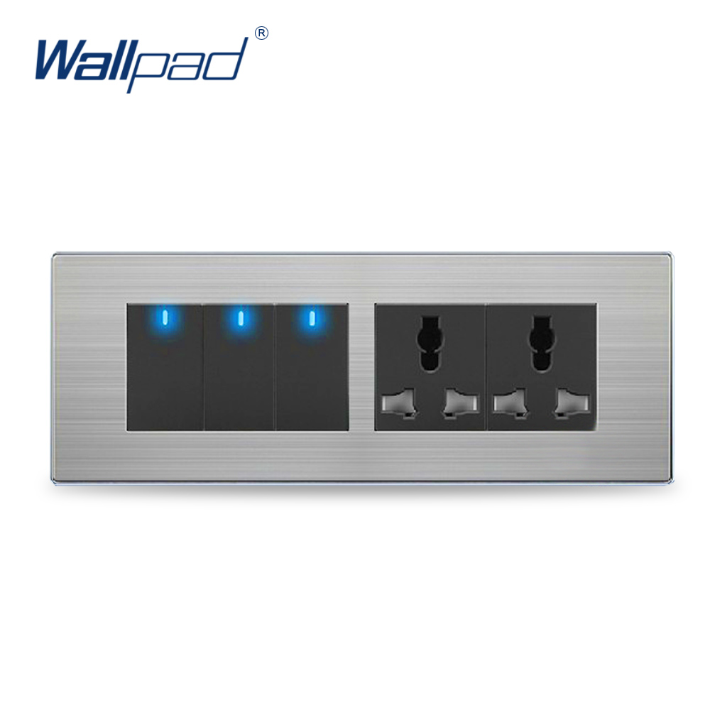 Wall Light 3 Gang 6 Pin Universal Socket Hot Sale China Manufacturer Wallpad Push Button One-Side Click  LED Indicator double computer socket free shipping hot sale china manufacturer wallpad push button luxury arylic mirror panel wall