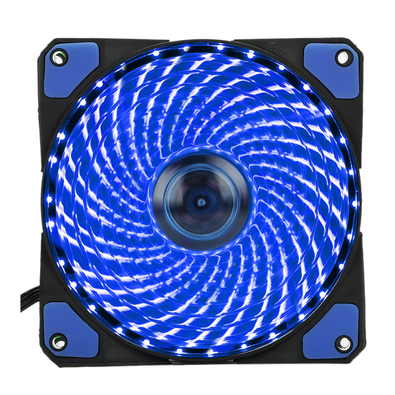 120mm PC Computer 16dB 33 LEDs Case Fan Heatsink Cooler Cooling with Anti-Vibration Rubber,12CM Fan,12VDC 3P IDE 4pin blue 20pcs lot computer pc case fan mounting pin anti rivets silicone shock absorption reduction noise vibration silicone screws