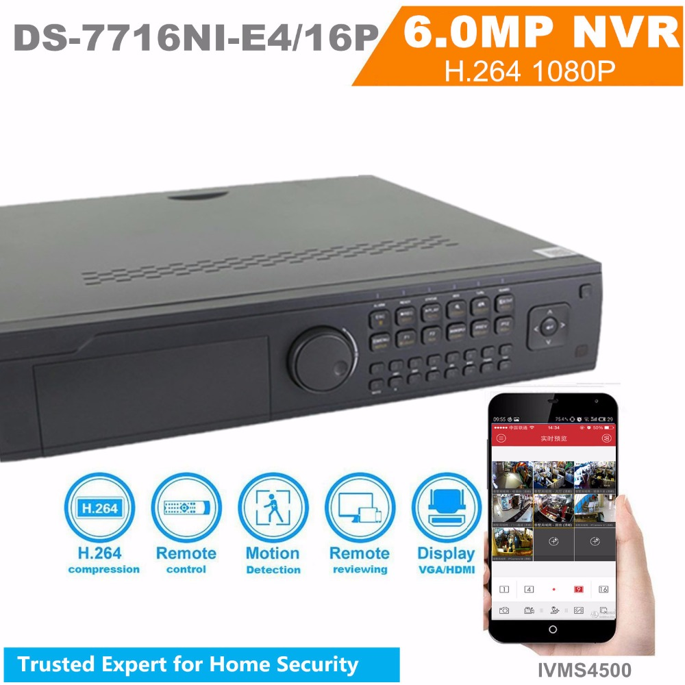 Original English Version NVR DS-7716NI-E4/16P  Embedded NVR 16ch NVR Security Camera System DS-7716NI-E4/16P 16 POE 4 SATA english version ds 7716ni e4 16p 16ch nvr with 16 poe interface ip camera network video recorder 4sata for hdd support update