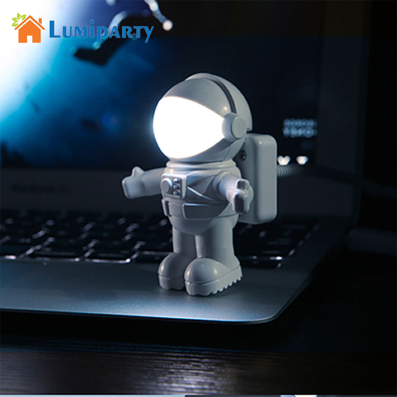 LumiParty New Mini White Flexible Spaceman Astronaut USB Tube LED Night Light Lamp For Computer Laptop PC Notebook Reading new k5 led usb hat led light lamp flexible variety of colors for notebook laptop pc computer blue white yellow