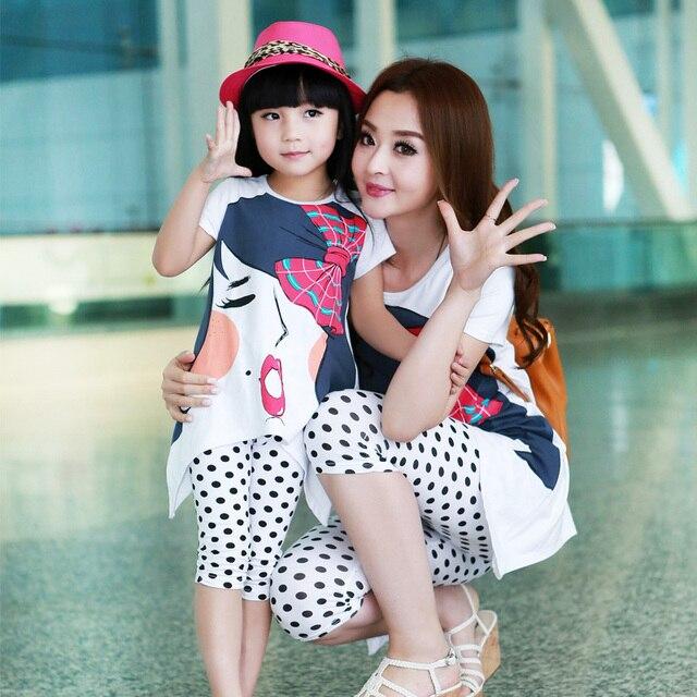 Conjuntos de roupa da menina crianças roupas de verão da família roupas para a mãe e filha set Lazer roupas 100% algodão