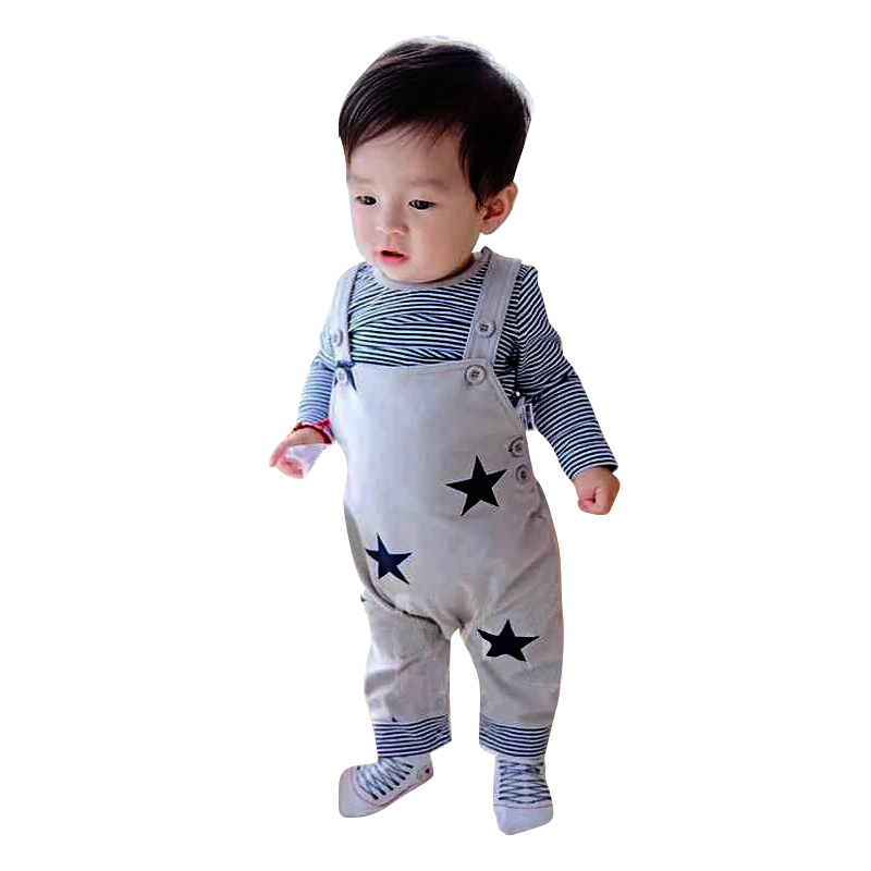 KEOL Best Sale Infant Baby Boy Girl Romper Suit Top T-shirt+Bib Pants Jumpsuit Star Outfits Set , Grey , 0-6 Months