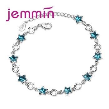 c3434721c751 Jemmin nuevo atractivo clásico de Plata de Ley 925 Pulseras de Moda  brazaletes de joyería para mujer pulsera con hermosa estrella azul CZ