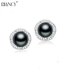 Fashion black Pearl Earrings Natural Freshwater Rose Flower 925 Sterling Silver Jewelry For Women