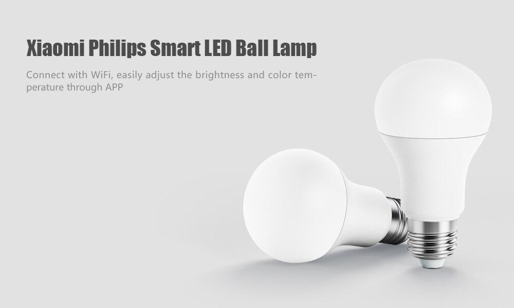 huge discount 764d0 d1b3d Xiaomi Philips Smart White LED E27 Bulb Light APP Remote Control LED Lamp