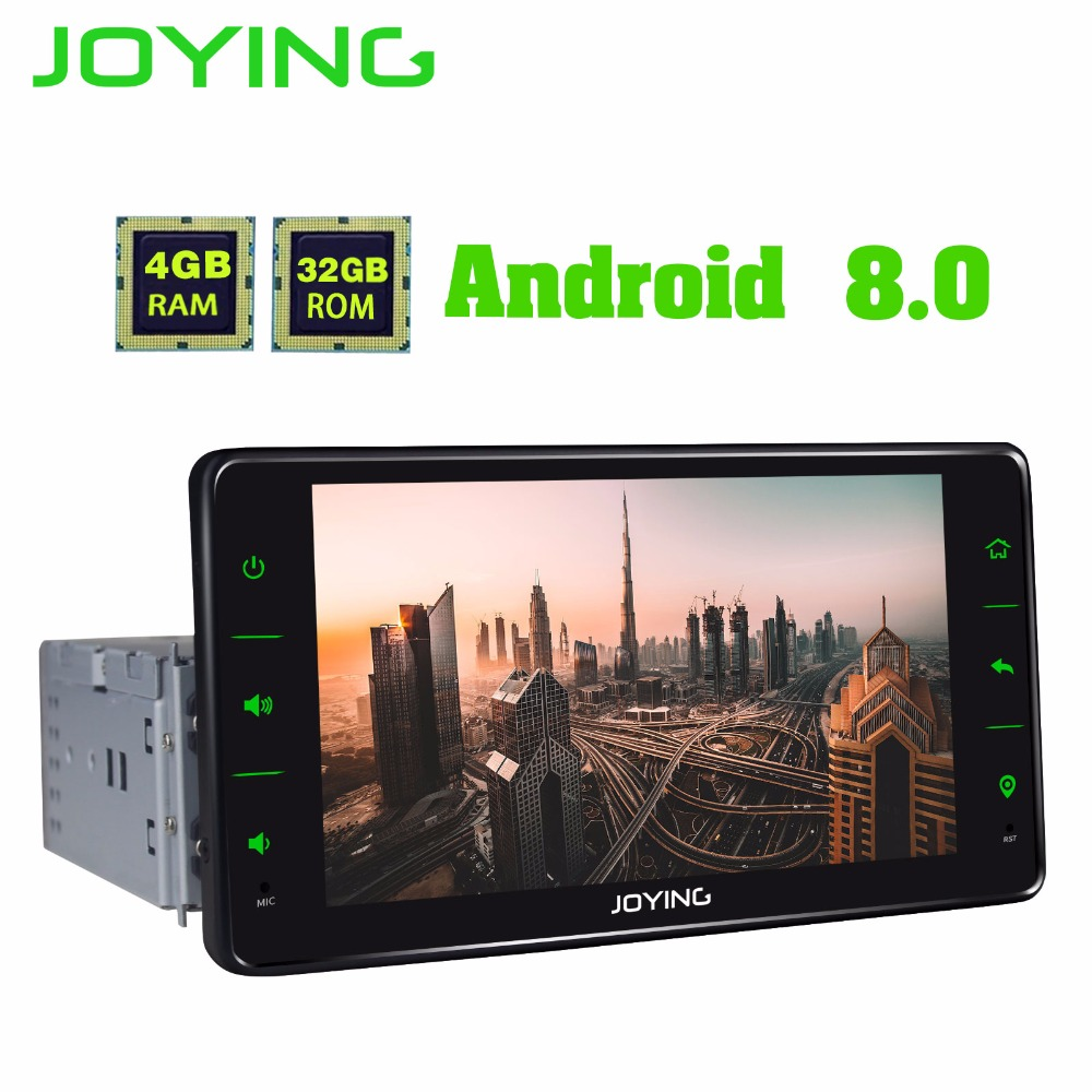 JOYING 4GB RAM 32GB ROM 6.2'' 1 DIN Android 8.0 car stereo head unit bluetooth FM RDS radio player support rear view camera dvr