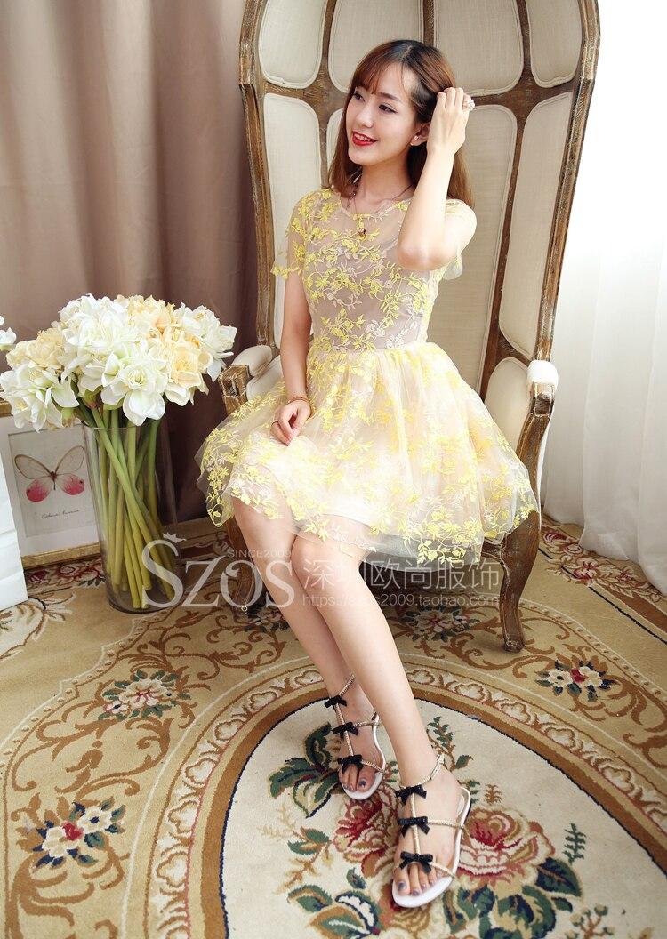 91e549ce21c Европа и Америка корейской версии мода Sweet Summer желтое вышивка  короткими рукавами Тонкий Лолита чистая Пряжа Кружево дамы платье
