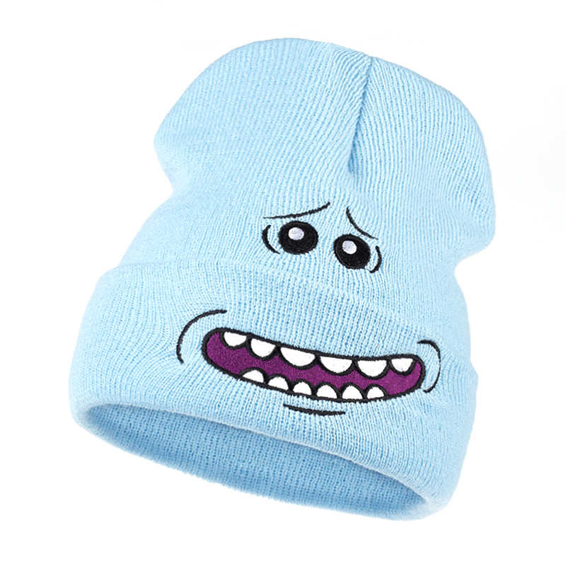 83f574625104c Mr. Meeseeks Knitted Hats Winter Rick and Morty Anime Caps Warm Cartoon  Loveliness Beanie Outdoor