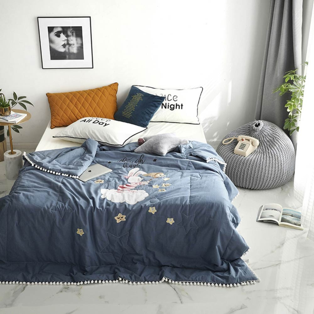 2019 Blue Grey Bunny Stars Thin Summer Quilt Air-condition Embroidery Comforter Washed Cotton Fabric Polyester Queen Size2019 Blue Grey Bunny Stars Thin Summer Quilt Air-condition Embroidery Comforter Washed Cotton Fabric Polyester Queen Size