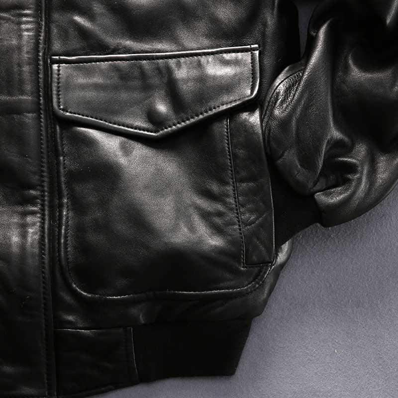 387803faef05e ... Avirex fly air force flight jacket fur collar genuine leather jacket  men black sheepskin coat winter