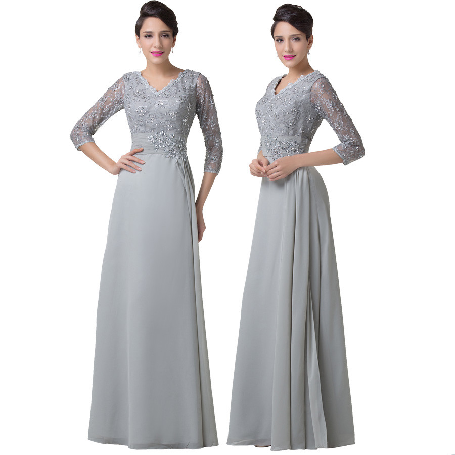 Grace Karin Chiffon Lace Mother of the Bride Dresses 3/4 Sleeve Double V Neck Floor Length Grey Beading Formal Mother Prom Dress 6
