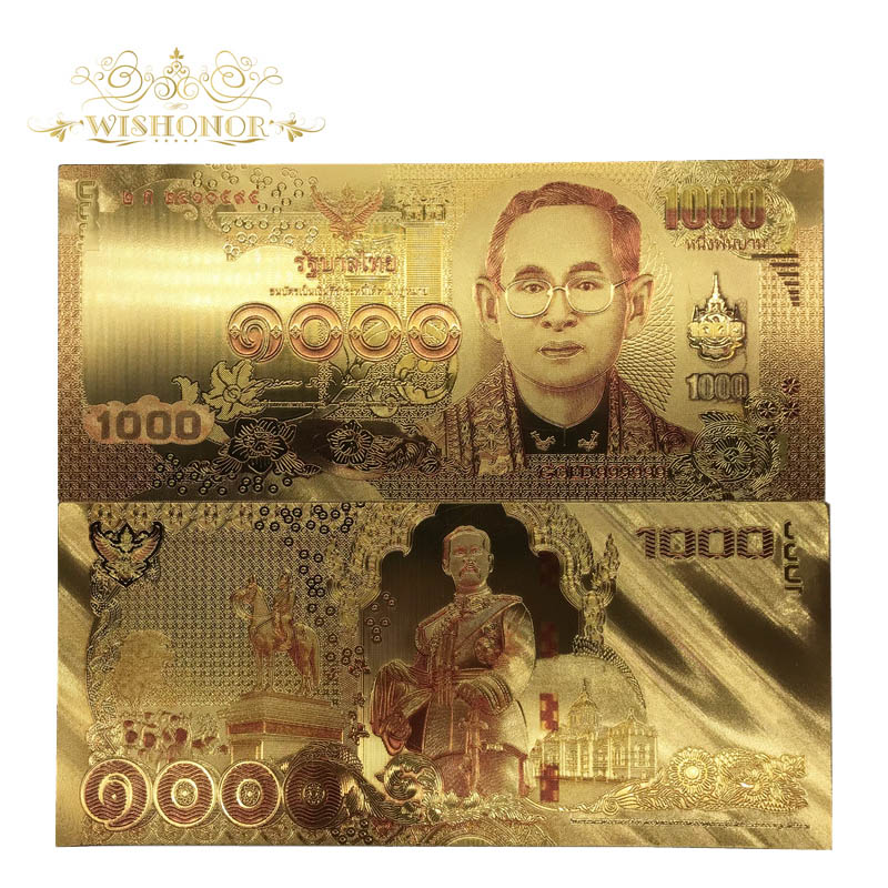 New Thailand Banknotes 1000 Baht Bill Gold Foil Banknote With Colors Thailand 24k Gold Plated Note For Gift 10pcs/lot
