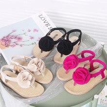 New Arrival 2019 Summer Girls Sandals Kids Princess Flower beach Shoes Children Flat With Elastic Flip Flops