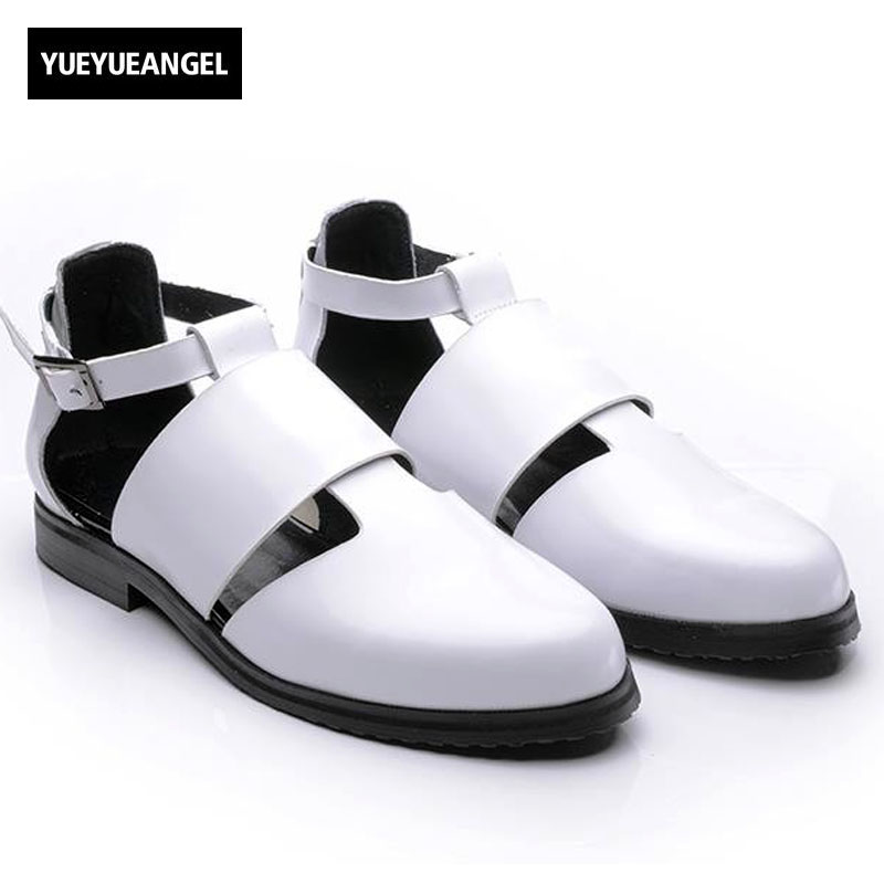 Sytlish Mens Leather Pointy Toe Gladiators Sandal Male Cut Out Breathable Buckle Roman Sandals Shoes Black Burgundy Free Ship