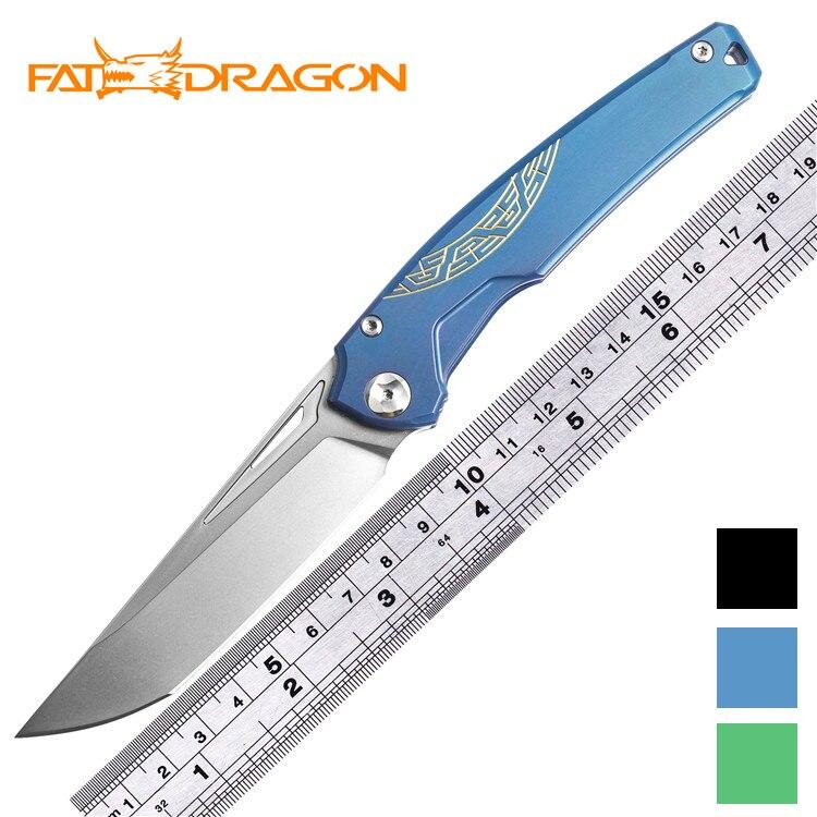 FATDRAGON сеньора CPM 154/s35vn лезвие шариковый подшипник titanium ручка Флип складной кемпинг охотничий карман TC4 фрукты нож, инструмент для повседневн