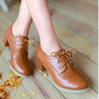 Lady Lace up Plus High quality PU size 34 48 Floral Insole Round toe Square Med heels Single Shoes Womens Pumps Botas Feminina