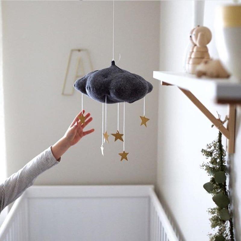 Nursery Stile Bianco Rosa Luna Nuvole E Star Baby Bed Mobile Appeso Ragazze Boy Room Decoration Accessori Nursery Decor Goccia