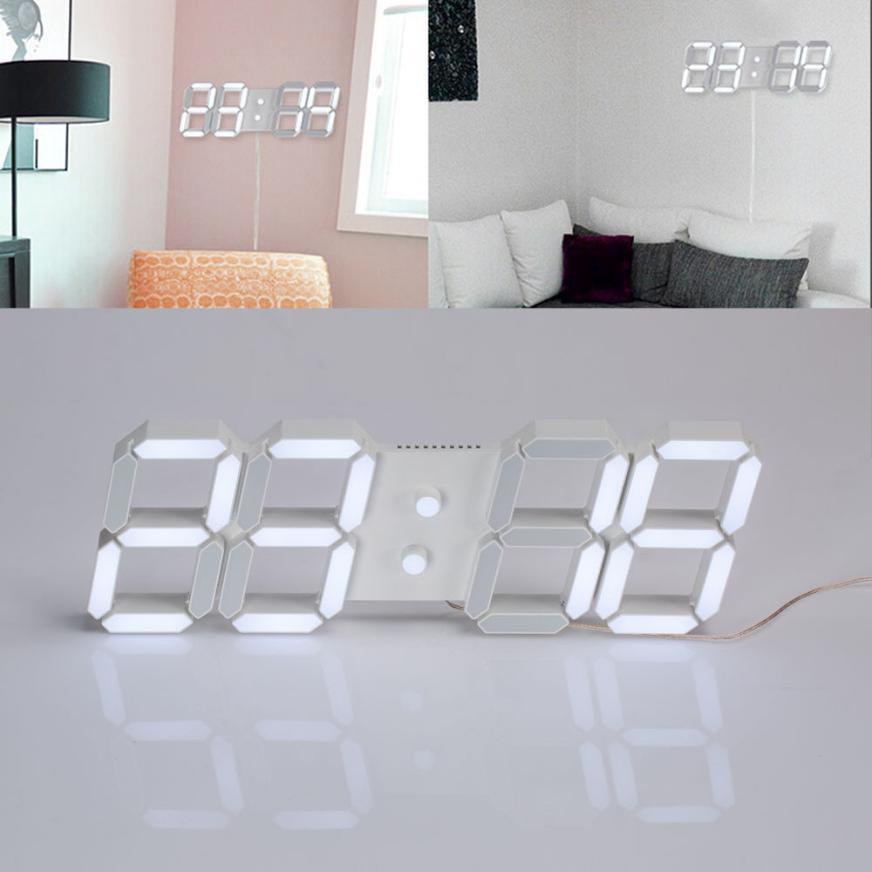 2017 New USB 3D Modern Digital LED Home Wall <font><b>Clock</b></font> Timer 24/12 Hour Display
