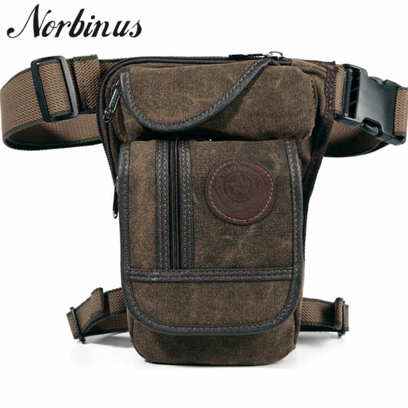 547a6be3c674 Norbinus Men Waist Fanny Pack Canvas Drop Leg Bag Hip Bum Military ...