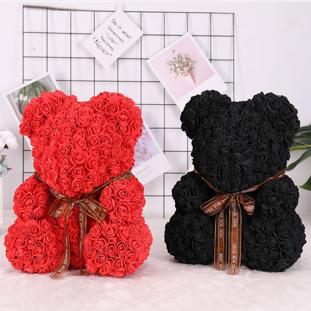 20/40 Free Delivery Foam Bear of Roses Bear Rose Flower Artificial New Year Gifts for Women Valentines Gift Romantic Lovely Toy