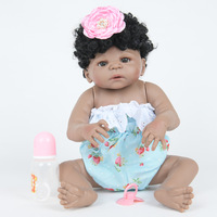 55cm Full Body Silicone Reborn Baby Doll Girl Newbron Lifelike Bebe Reborn Birthday Gift Good Playmates for Kids Bath Shower Toy
