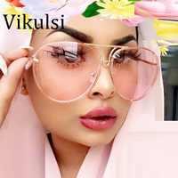 Lunettes Vintage uniques lunettes transparentes femmes sans monture lunettes surdimensionnées lunettes claires lunettes de soleil femme