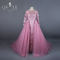 Vestido de festa Pink Vintage Arabic Evening Dresses 2017 Real Picture Silver Lace Beaded Removable Tulle Skirt Long Prom Dress