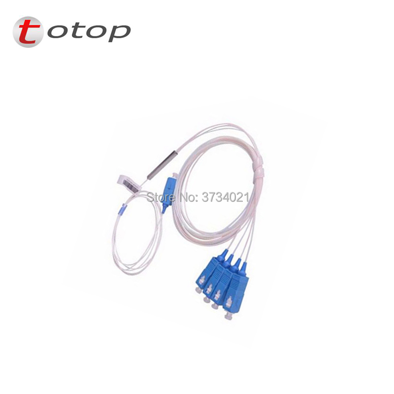 Free Shipping SCUPC 1X4 PLC Singlemode Fiber Optical splitter FTTH PLC Steel cables SCUPC1x4 PLC optical fiber