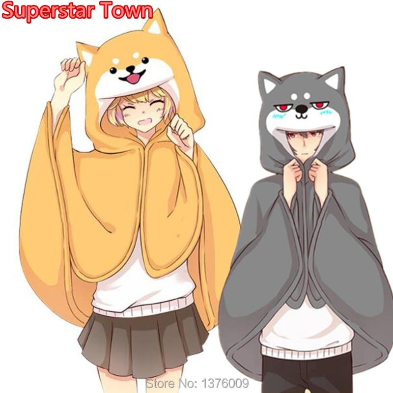 Harajuku Style Cloak Kawaii Girls Shiba Inu Doge Husky Cosplay Cape Lovely Anime Animal Halloween Costume Homewear Men Women Boy