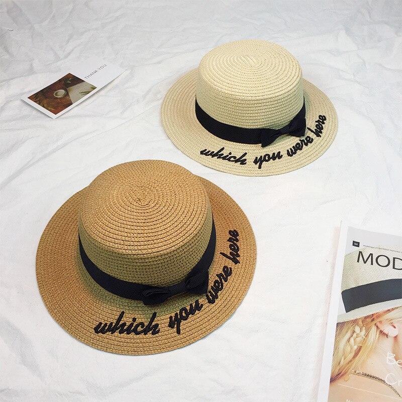 9c5ba2fa8951e 2017 hueso Sol sombrero para las mujeres Panamá gorra que usted estaba aquí  paja de la playa del verano femenino arco británico sombrero Stetson en ...