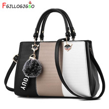 FGJLLOGJGSO Women Handbags Hairball Ornaments Women Totes Patchwork Handbag Party Purse Ladies Messenger Crossbody Shoulder Bags(China)