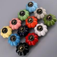 1x 33mm Ceramic Door Drawer Handles Pumpkins Knobs Europe Cabinet Cupboard Pull Kids room Dresser knobs