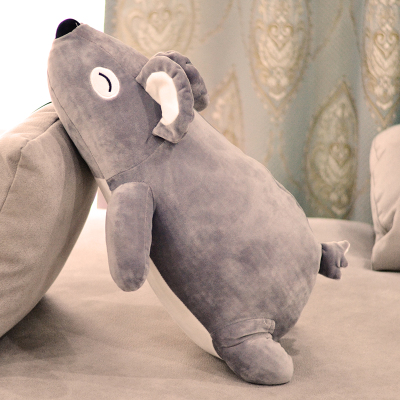 middle plush lying bear toy soft dark gray bear doll pillow gift about 70cm big new plush lying bear toy creative stripe clothes polar bear doll gift about 70cm