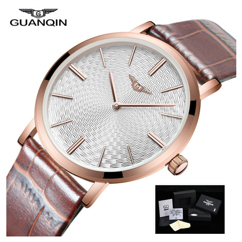 2017 Mens Watches Top Brand GUANQIN Leather Strap Casual Watches Simple Ultra Thin Men Quartz Watch Male Clock Relogio Masculino bgg simple quartz watch men and women business casual black japan quartz watch leather ultra thin clock male relogio masculino