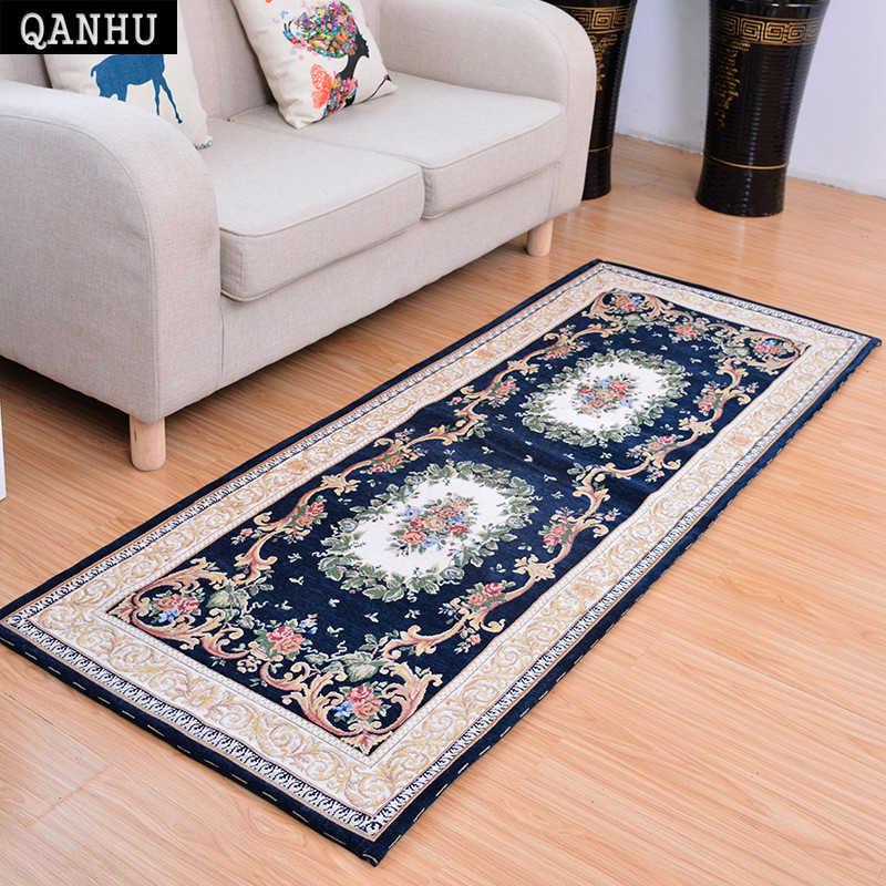 QANHU бытовой коврики радостное Готовый ковер жаккардового текстиля Спальня диван ковры Tapetes Para Casa Sala 70*180 см 5 цветов # C-04