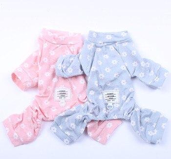 Kombinezon dla małych psów kot piżama kwiaty Design szczeniak dres nocny odzież 5 rozmiarów 2 kolory