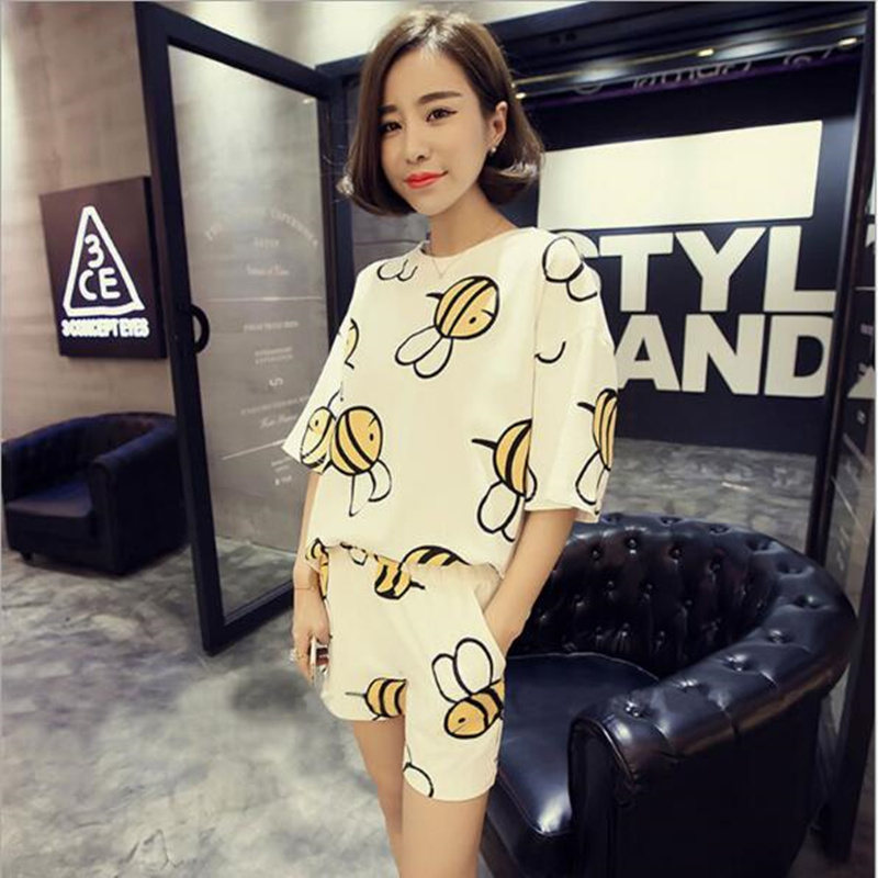 Summer pajamas ladies summer milk short-sleeved shorts cute bee girls thin student home service suit pijama pyjamas women