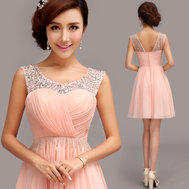 Evening Dress 2015 Fashion Bridal Sexy Crystal Chiffon Short Pink