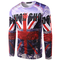 New Arrival 2017 Men Printing 3D England flag T-shirt Long Sleeve Summer Wear Top Tees High Quality Round Neck T shirt men/Women