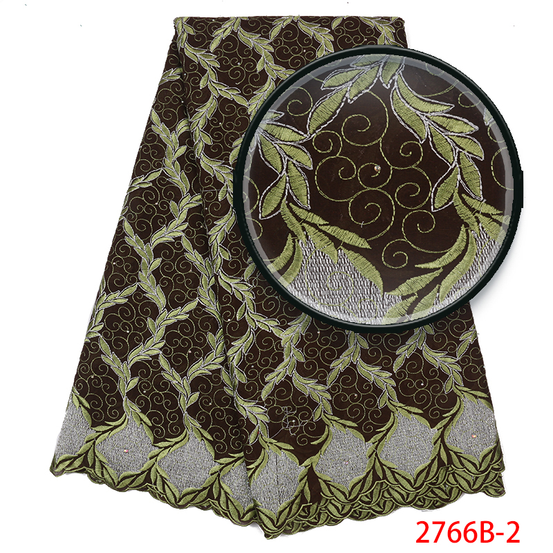 HOT SALE Swiss Voile Laces  African Cotton Lace Fabric High Quality  Nigerian Voile Lace 5Yards For Dresses KS2766B-2