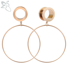 ZS 4-20mm Big Circle Ear Plug Tunnel Stainless Steel Screw Flesh Rose Gold Round Tunnels Body Piercing Jewelry