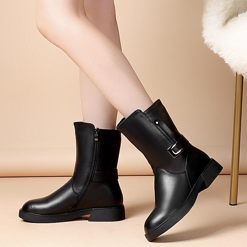 Para Las Vaca Martin Cuero Lana 2019 Negro Botas Moda Zapatos Invierno Nieve De Mujeres Confort Hebilla Nuevo Metal Mujer nxq80zW6
